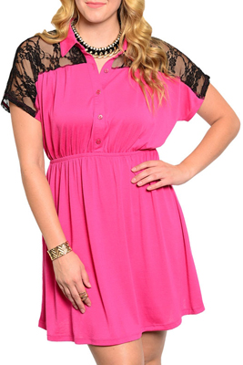Plus Size Trendy Three Button Johnny Collar Lace Overlay Dress