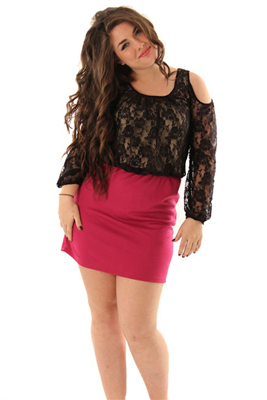 Formal Lace and Knit Cold Shoulder Plus Size Dress