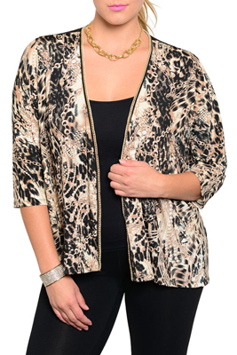 Plus Size Trendy Open Front Animal Print Cardigan