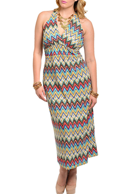 Plus Size Chevron Open Back Halter Maxi Dress