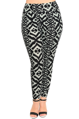 Plus Size Trendy Tribal Print Slim Fit Skinny Leggings