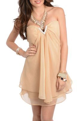 Sexy Jeweled Shimmery Chiffon Strapless Date Dress