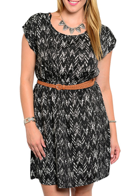 Plus Size Classy Abstract Chevron Print Dress With Braided Belt