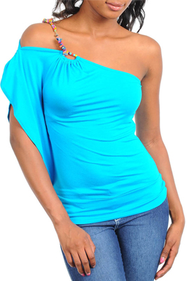 Perky One Shoulder Party Top with Beads