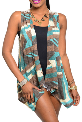 Trendy Sleeveless Crocheted Back Open Front Cardigan