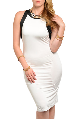 Plus Size Sexy Fitted Color Block Open Back Date Dress