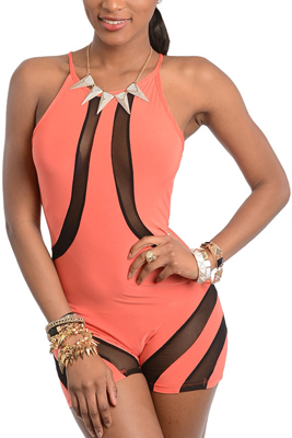Sexy Slinky Sheer Mesh Cut Out Romper