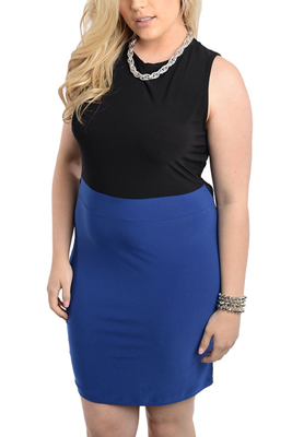 Plus Size Sultry Color Block Open Back Date Dress