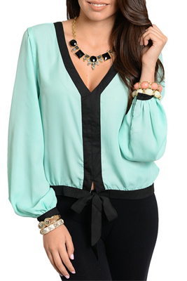 Sexy Sheer Chiffon Long Sleeve Tie Front Top