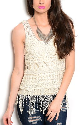 Sheer Sleeveless Abstract Crocheted Top
