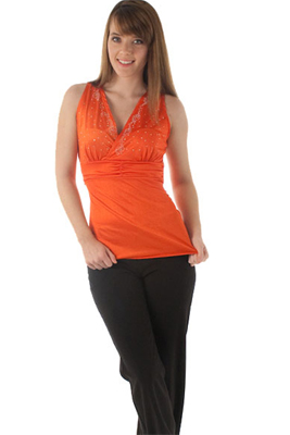 Slinky Bedazzled Tank Top with Sash
