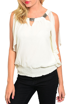 Demure Sequined Collar Split Sleeve Cinched Top