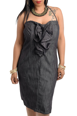 Plus Size Ruffle Denim Party Halter Dress