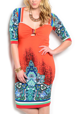 Plus Size Sexy Slinky Boho Keyhole Dress