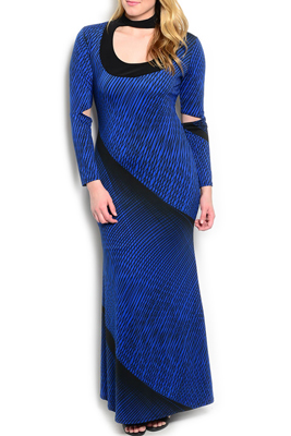 Plus Size Strappy Abstract Maxi Dress