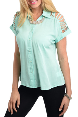 Trendy Collared Button Down Open Sleeve Top