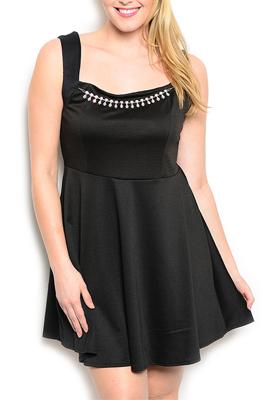 Plus Size Flare Jeweled Neckline Date Dress