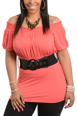 Plus Size Trendy Chic Off Shoulder Knit Top with Belt