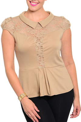 Plus Size Sexy Sheer Lace Cut Out Collared Top