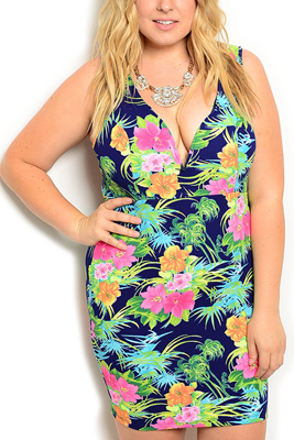 Plus Size Plunging Floral Fitted Date Dress