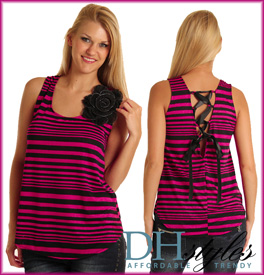 Lightweight Striped Lace Up Tank Top