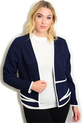 Plus Size Trendy Dressy Chic Open Front Blazer