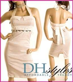 Beige Striped Halter Cocktail Dress with Belt