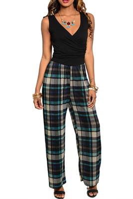Trendy Plaid Print Sleeveless Waistband Full Length Romper