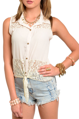 Sexy Lace Panel Tie Front Button Down Sleeveless Top