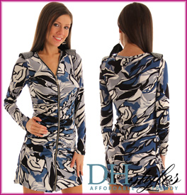 Painted Camo Long Sleeve Zipper Dress