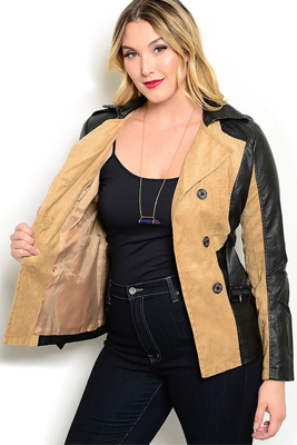 Plus Size Leatherette Jacket With Belt