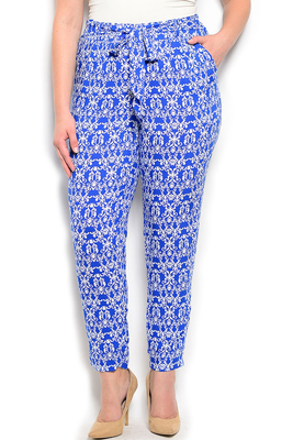 Plus Size Damask Soft Knit Dressy Pants