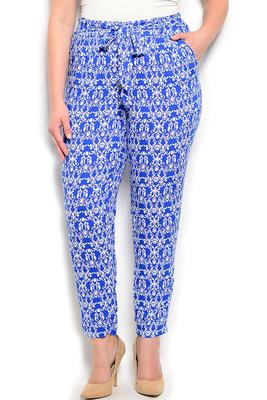 Plus Size Damask Soft Knit Dressy Pants