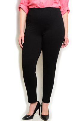 Plus Size Mid Rise Zipper Skinny Pants