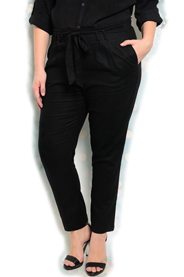 Plus Size Sheer Tie Front Skinny Pants