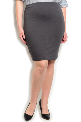 Plus Size Chic Fitted Stretch Pencil Skirt