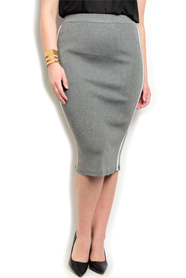 Plus Size Dressy Soft Knit Striped Skirt