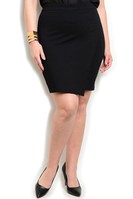 Plus Size Asymmetrical Wrap Slit Skirt