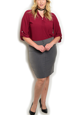 Plus Size Dressy Trendy Fitted Pencil Skirt