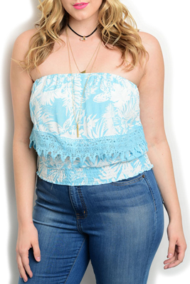Plus Size Scalloped Smocked Crop Top
