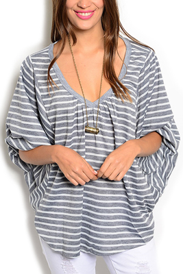 Trendy Flowy V Neck Poncho Dolman Knit Top