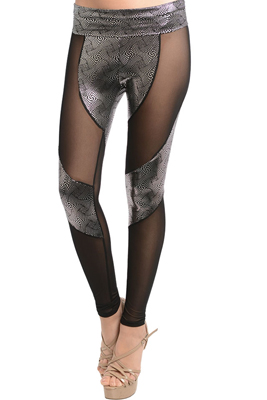 Sexy Mesh Cut Out Metallic Skinny Leggings