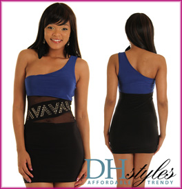 Sexy Slinky Mesh One Shoulder Mini Dress
