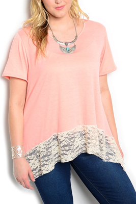 Plus Size Flowy Sheer Lace Hem Knit Top