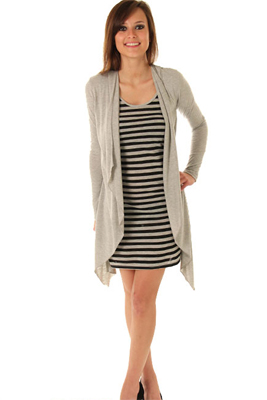Trendy Layered Stripes Knit Cardie Dress