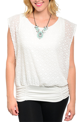 Plus Size Trendy Diamond Textured Wide Sleeve Top