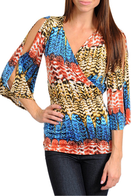 Trendy Feather Cold Shoulder Tunic Top