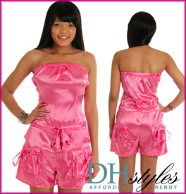 Strapless Satin Cinched Shorts Romper