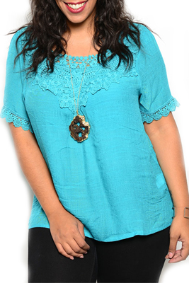 Plus Size Trendy Soft Knit Embroidered Patterned Neckline Top
