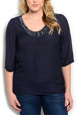 Plus Size Trendy Sheer Beaded Neckline Top